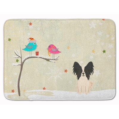 Christmas Presents Papillon Memory Foam Bath Rug Color: Black