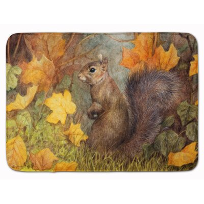 Earle Squirrel in Fall Leaves Memory Foam Bath Rug