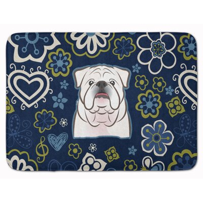 English Bulldog Memory Foam Bath Rug Color: White