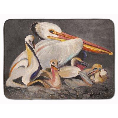 White Pelicans Memory Foam Bath Rug