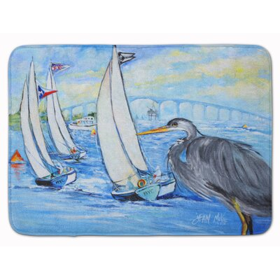 Heron Sailboat Dog River Bridge Memory Foam Bath Rug