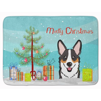 Christmas Tree and Corgi Memory Foam Bath Rug Color: Black/White