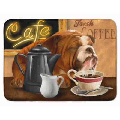 English Bulldog Morning Coffee Memory Foam Bath Rug