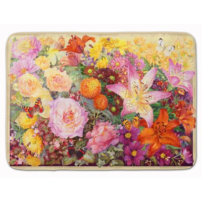 Autumn Floral by Anne Searle Memory Foam Bath Rug
