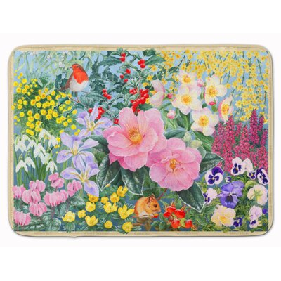 Winter Floral by Anne Searle Memory Foam Bath Rug