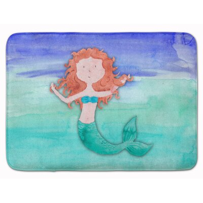 Ginger Mermaid Watercolor Memory Foam Bath Rug