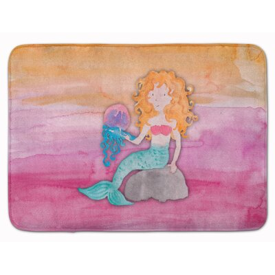 Blonde Mermaid Watercolor Memory Foam Bath Rug
