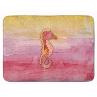Breann Seahorse Watercolor Memory Foam Bath Rug