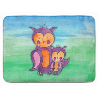 Momma and Baby Owl Watercolor Memory Foam Bath Rug