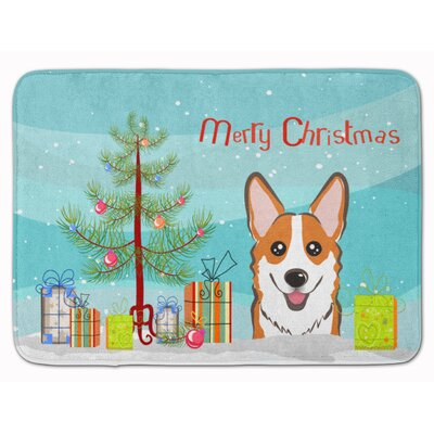 Christmas Tree and Corgi Memory Foam Bath Rug Color: Red