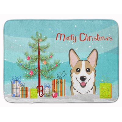 Christmas Tree and Corgi Memory Foam Bath Rug Color: Sable