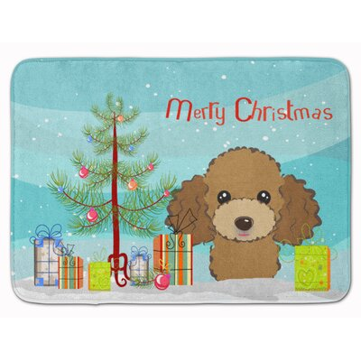 Christmas Tree Poodle Memory Foam Bath Rug Color: Chocolate