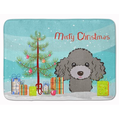 Christmas Tree Poodle Memory Foam Bath Rug Color: Silver/Gray