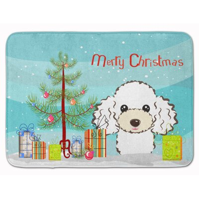Christmas Tree Poodle Memory Foam Bath Rug Color: White