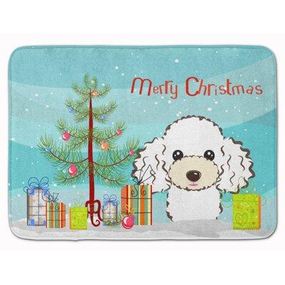 Christmas Tree Poodle Memory Foam Bath Rug Color: White