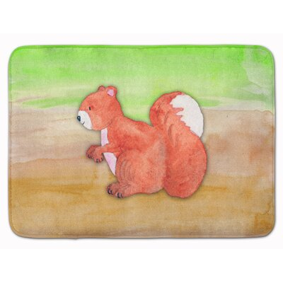 Deidre Squirrel Watercolor Memory Foam Bath Rug