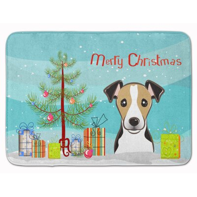 Christmas Tree and Jack Russell Terrier Memory Foam Bath Rug Color: White/Black