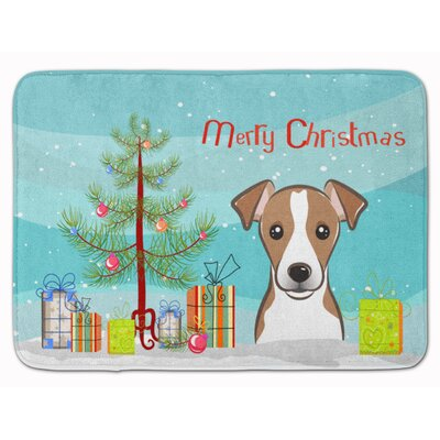 Christmas Tree and Jack Russell Terrier Memory Foam Bath Rug Color: White/Brown