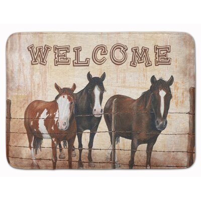Welcome with Horses Memory Foam Bath Rug