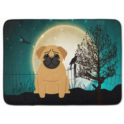 Halloween Scary Pug Memory Foam Bath Rug Color: Brown