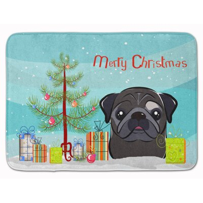 Christmas Tree and Fawn Pug Memory Foam Bath Rug Color: Black