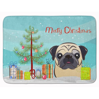 Christmas Tree and Fawn Pug Memory Foam Bath Rug Color: Black/Beige