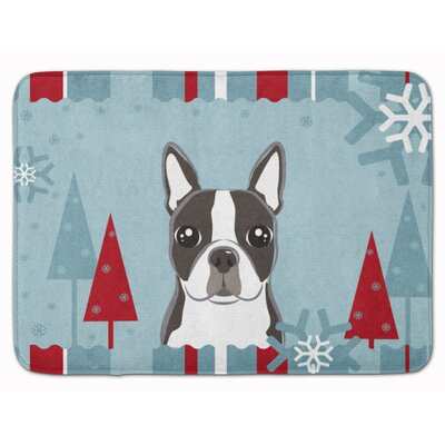 Winter Holiday Boston Terrier Memory Foam Bath Rug