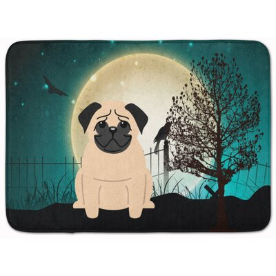 Halloween Scary Pug Memory Foam Bath Rug Color: Fawn