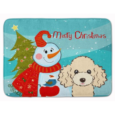 Snowman with Buff Poodle Memory Foam Bath Rug