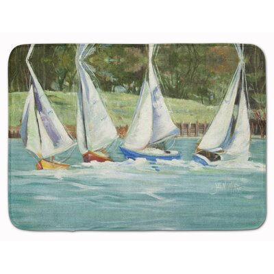 Sailboat on the bay Memory Foam Bath Rug