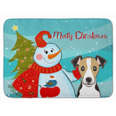 Snowman with Jack Russell Terrier Memory Foam Bath Rug Color: Chocolate/White/Black
