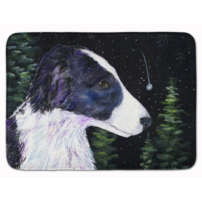 Starry Night Border Collie Memory Foam Bath Rug