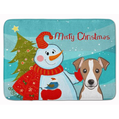 Snowman with Jack Russell Terrier Memory Foam Bath Rug Color: Chocolate/White