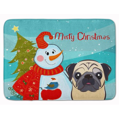 Snowman with Fawn Pug Memory Foam Bath Rug