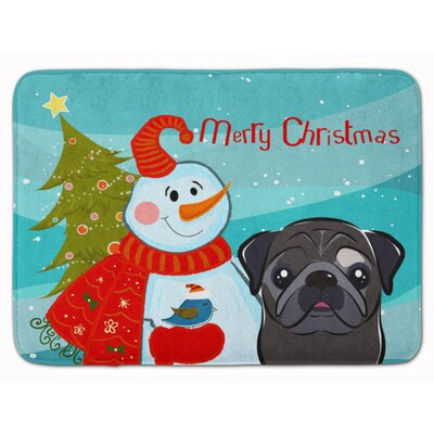 Snowman with Pug Memory Foam Bath Rug