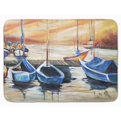 Sailboat Beach View Memory Foam Bath Rug