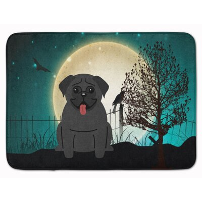 Halloween Scary Pug Memory Foam Bath Rug Color: Black