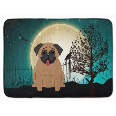 Halloween Scary Pug Memory Foam Bath Rug Color: Brown