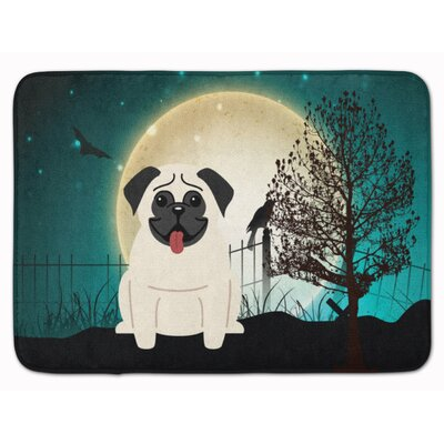 Halloween Scary Pug Memory Foam Bath Rug Color: Cream