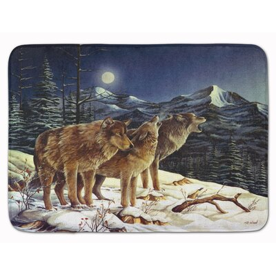 Wolf Wolves Crying at The Moon Memory Foam Bath Rug