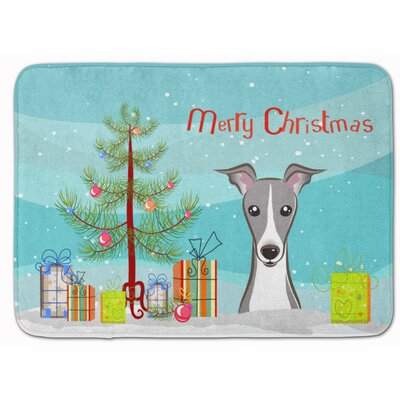 Christmas Tree and Italian Greyhound Memory Foam Bath Rug