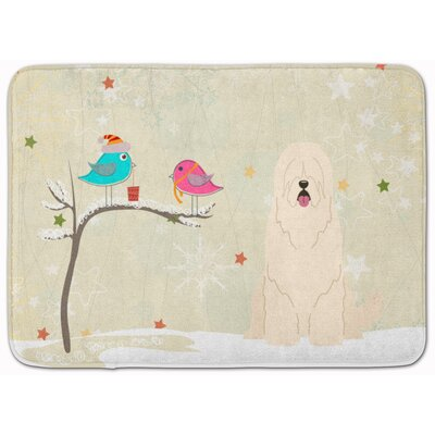 Christmas South Russian Sheepdog Memory Foam Bath Rug