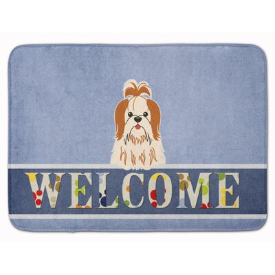 Shih Tzu Welcome Memory Foam Bath Rug Color: Red/White