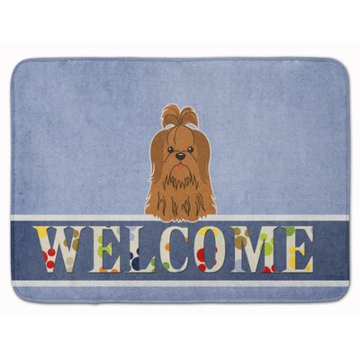 Shih Tzu Welcome Memory Foam Bath Rug Color: Silver/Chocolate