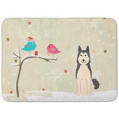 Christmas West Siberian Laika Spitz Memory Foam Bath Rug
