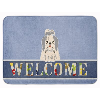 Shih Tzu Welcome Memory Foam Bath Rug Color: Silver/White