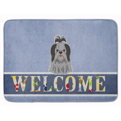 Shih Tzu Welcome Memory Foam Bath Rug Color: Black/Silver