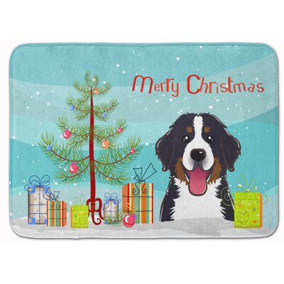 Christmas Tree and Bernese Mountain Dog Memory Foam Bath Rug