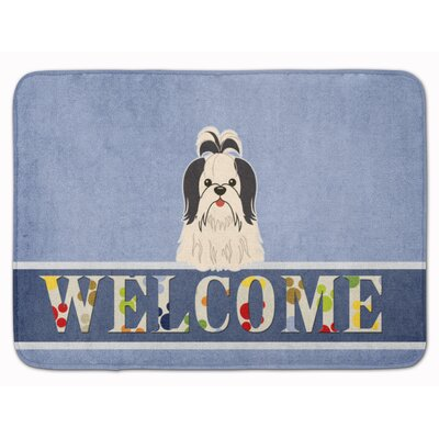 Shih Tzu Welcome Memory Foam Bath Rug Color: Black/White