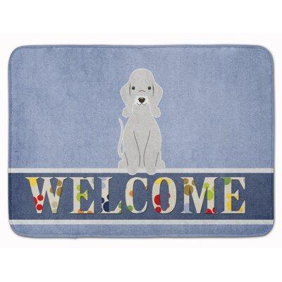 Bedlington Terrier Welcome Memory Foam Bath Rug Color: Blue